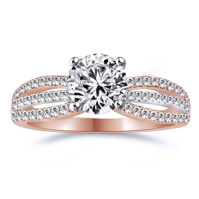 1.2 Ct. Round Cut Halo Engagement Ring Solid 14K Rose Gold - Glamour Life Diamonds