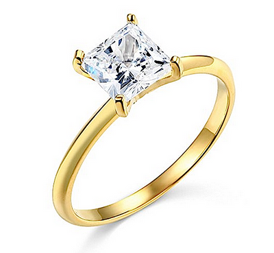 1 Ct. Princess Cut Solid 14K Yellow Gold Solitaire Engagement Ring - Glamour Life Diamonds
