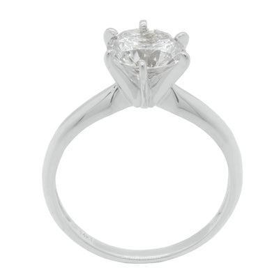 2 Ct. Round Cut Solitaire Solid 18K White Gold Engagement Ring - Glamour Life Diamonds
