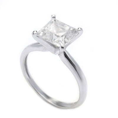 3 Ct. Princess Cut Solitaire Engagement Lab Diamond Ring Solid 14K White Gold - Glamour Life Diamonds