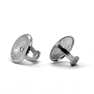 2 Ct. Round Earrings Solid 14K 18k White Gold Basket Screw Back