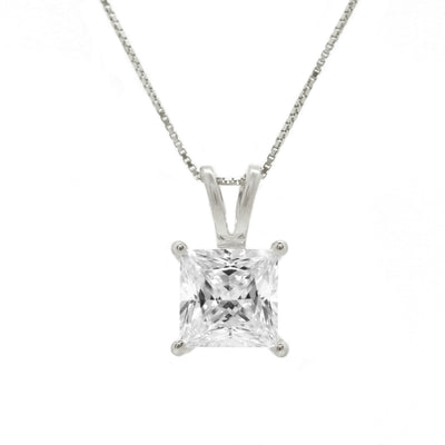 "1 Ct. Princess Cut Solid 14k White Gold Solitaire Pendant 18"" Necklace - Glamour Life Diamonds"