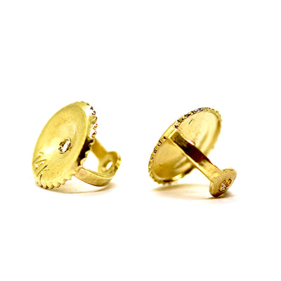 1.5 Ct. Round Cut Bezel Solid 14K 18K Yellow Gold Earrings Screw Back