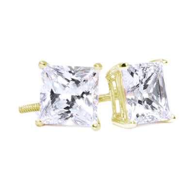 3 Ct. Princess Solid 14K 18k Yellow Gold Earrings Studs Screwback - Glamour Life Diamonds