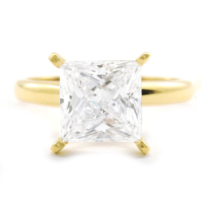 3 Ct. Princess Cut Solid 14K Yellow Gold Solitaire Engagement Ring - Glamour Life Diamonds