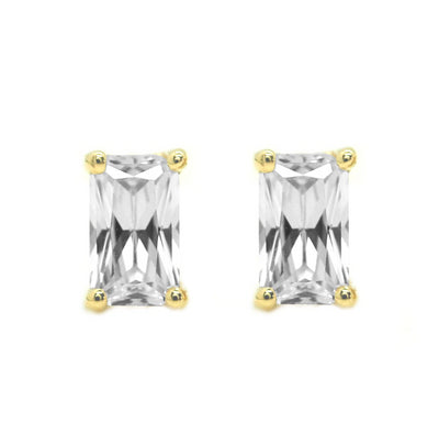 1 Ct. Emerald Cut Solid 14K Yellow Gold Earrings Studs Screw Back - Glamour Life Diamonds