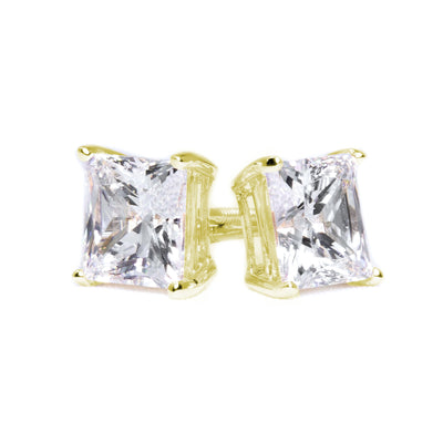 2 Ct. Princess Solid 14K 18k Yellow Gold Earrings Studs Screwback - Glamour Life Diamonds