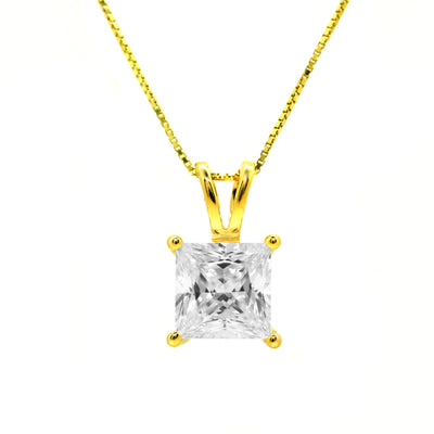 "2 Ct. Princess Cut Solid 14k Yellow Gold Solitaire Pendant 16"" Necklace - Glamour Life Diamonds"