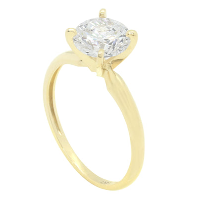 1.5 Ct. Round Cut Solid 14K Yellow Gold Solitaire Engagement Ring - Glamour Life Diamonds