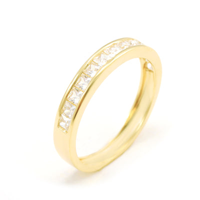 0.5 Ct. Princess Band 14-Stone Accent Solid 14k Yellow Gold Anniversary Ring - Glamour Life Diamonds