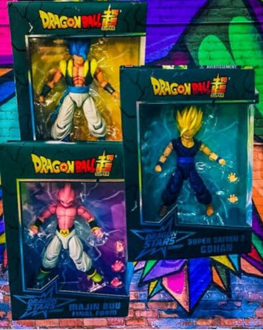 Dragon Ball Stars Action Figure Wave 11 Case 3 Pc set: Super Saiyan Goku, Blue Gogeta, Buu - MiscGoodies