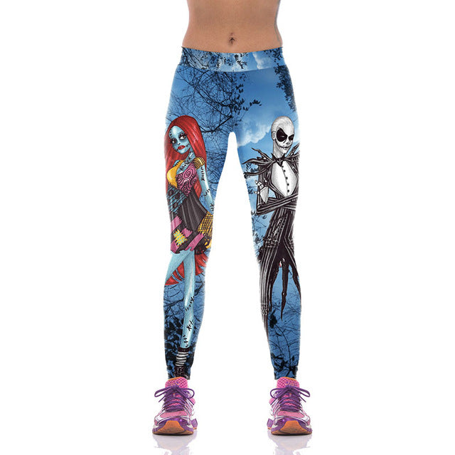 The Nightmare Before Christmas Graphic Printed Fitness Leggings - MiscGoodies