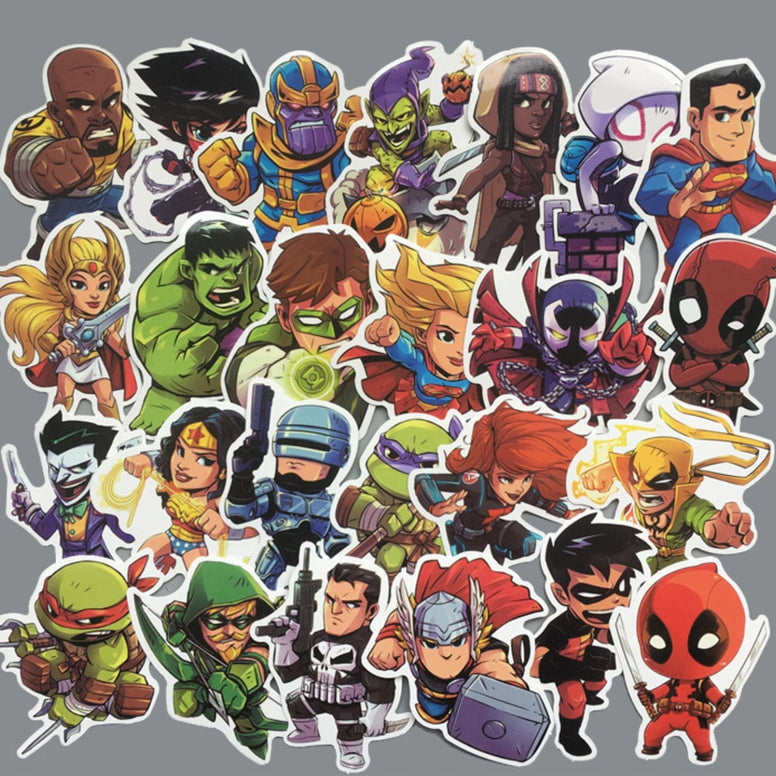 50 Pc Super Hero Cool PVC Stickers - MiscGoodies