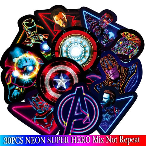 30PCS Marvel The Avengers Neon Stickers Sets Cartoon Anime Sticker For Laptop Fridge Phone Guitar Super Hero Stickers Pack - MiscGoodies