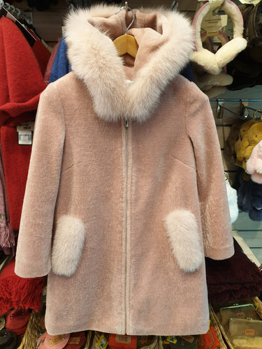 ESSENTIAL FOX FUR HOOD SHEEP SKIN SUEDE JACKET