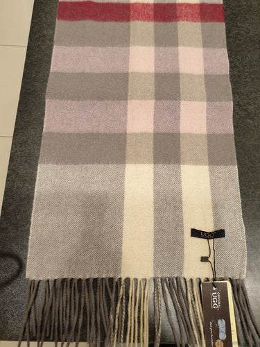 GREY/PINK/RED/WHITE AUZLAND UGG WOOL SCARF