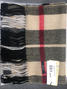 BLACK/CREAM/RED AUZLAND UGG WOOL SCARF