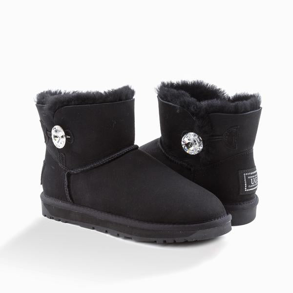 UGG CLASSIC MINI BUTTON WITH SWAROVSKI BOOTS (WATER RESISTANT)