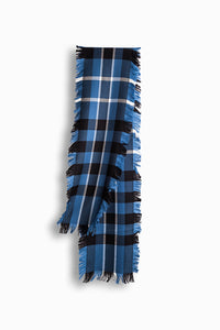 UGG FRINGED CHECK WOOL SCARF