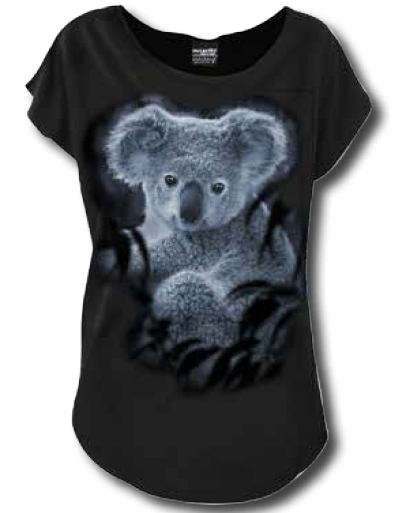 MCCARTHY AND MCCOY FOREST KOALA LADIES SCOOP NECK LOOSE T/S
