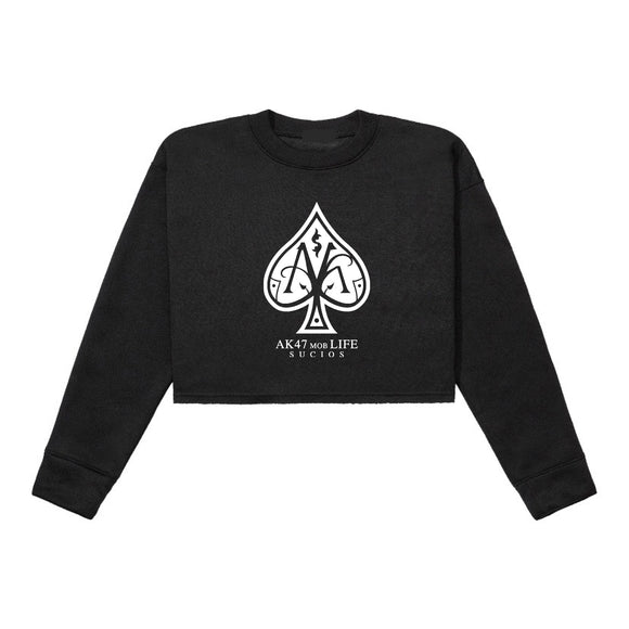 Ace Crop Top Crewneck ; Black