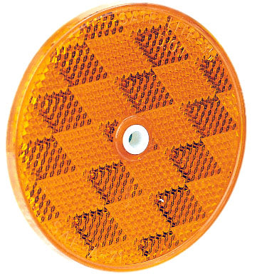 "B476A Peterson (PM) Screw-On Center-Mount 3-3/16"" Round Reflector (Amber) - Buy PM Lights"