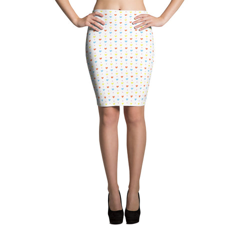 Hearts and Dots Pencil Skirt
