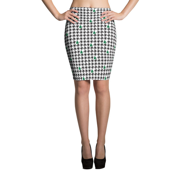 Houndstooth and Trees Pencil Skirt