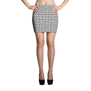 Houndstooth and Trees Mini Skirt