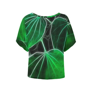 Foliage #9B   Women's Batwing Sleeved Blouse T-shirt (Model T43)