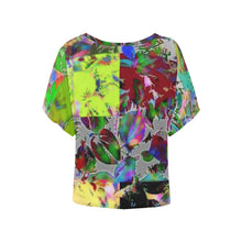 Foliage Patchwork #12   Women's Batwing Sleeved Blouse T-shirt (Model T43)