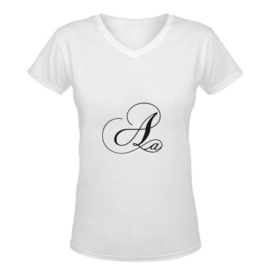Alphabet A   Women's Deep V-neck Tshirt (Model T19)