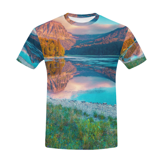 Beautiful Sunrise in Swiss Lake Obersee in Summer T-Shirt for Men