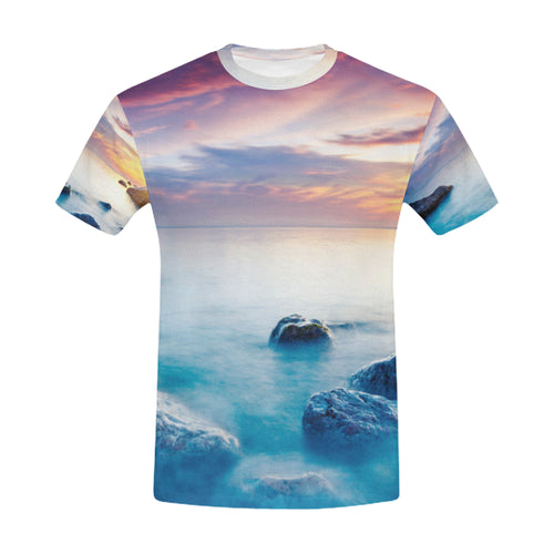 Majestic Summer Sunset over the Sea T-Shirt for Men