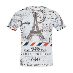 Eiffel Tower Post Stamps T-Shirt for Men