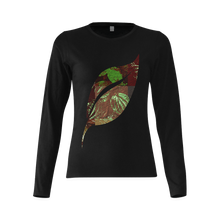 Foliage Patchwork #4 Smiley Single Leaf Women's Black Long Sleeve T-Shirt
