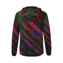 Watercolor Satin All Over Print Full Zip Hoodie for Women backview