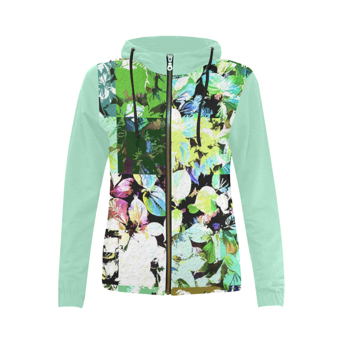 Foliage Patchwork #2 Full Zip Hoodie for Women | Liquid Green Sleeves