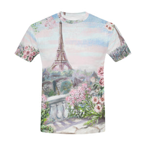 Summer in Paris Eiffel Tower Oil Painting T-Shirt for Men