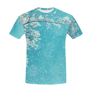 Snowy Tree Branches in Winter Landscape T-Shirt for Men