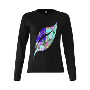 Foliage Patchwork #12 Smiley Single Leaf Women's Black Long Sleeve T-shirt