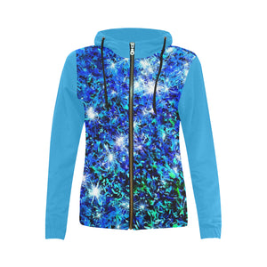 Sparkling Blue   All Over Print Full Zip Hoodie for Women (Model H14)