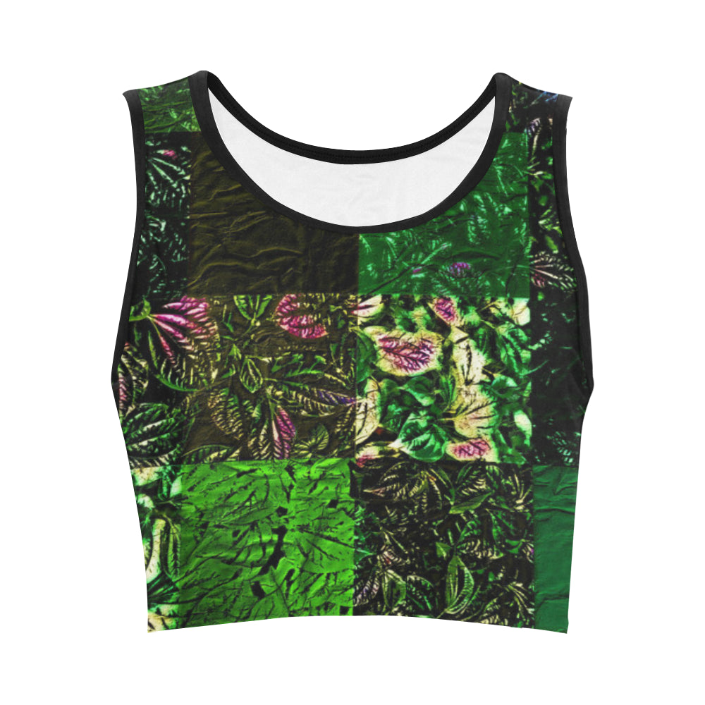 Foliage Patchwork #1   Women's Crop Top (Model T42)