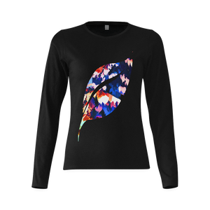 Foliage Patchwork #7 Smiley Single Leaf Women's Black Long Sleeve T-Shirt