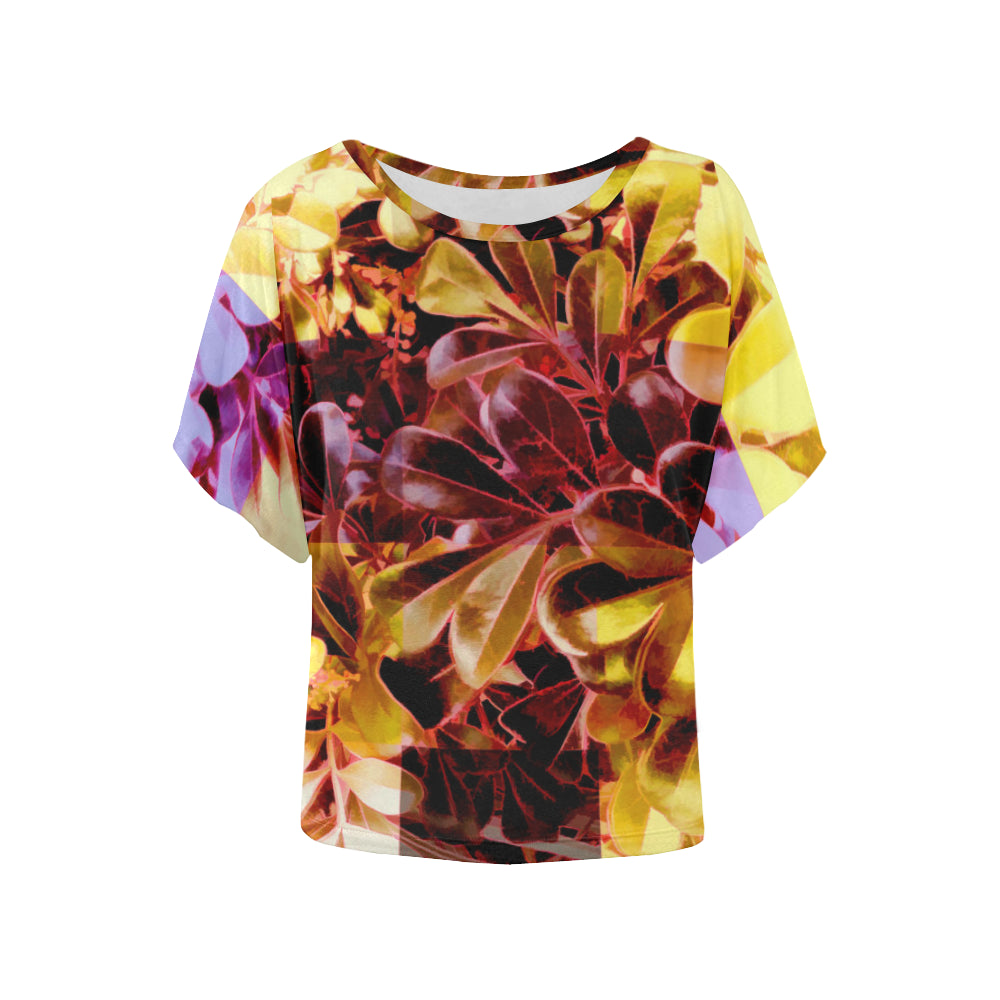 Foliage Patchwork #11   Women's Batwing Sleeved Blouse T-shirt (Model T43)