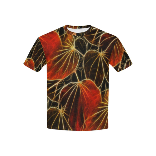 Foliage #9 All Over Print T-Shirt for Boys and Girls | Red frontview