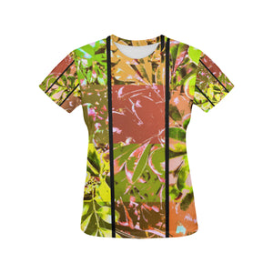Foliage Patchwork #5 All Over Print T-Shirt for Women | Vertical Line frontview