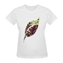 Foliage Patchwork #6   Smiley Single Leaf White  Women's Tshirt (Model T05)
