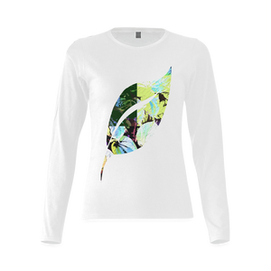 Foliage Patchwork #2 Smiley Single Leaf Women's White Long Sleeve T-Shirt