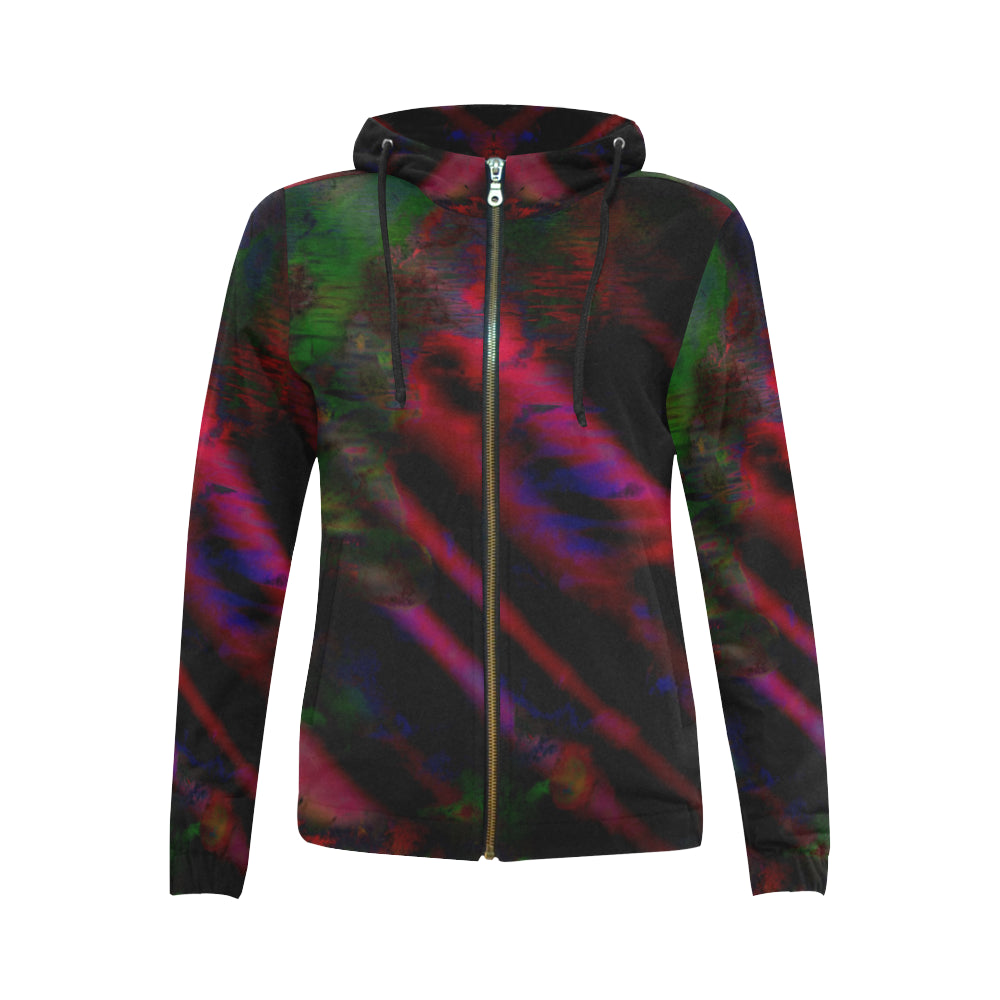 Watercolor Satin All Over Print Full Zip Hoodie for Women